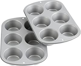 Wilton 2109-6825 Recipe Right Non-Stick 6 Cup Jumbo Muffin Pan, Multipack of 2