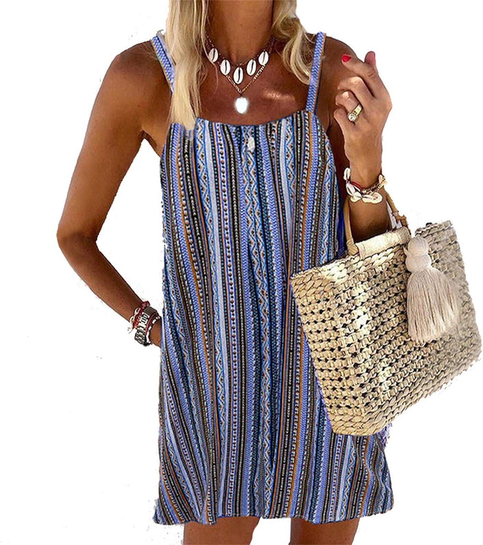 Toeava Women Summer Tank Dress,Womens triped Mini Dress Halter Camisole Printed Beach Dress Cocktail Party Beach Dress