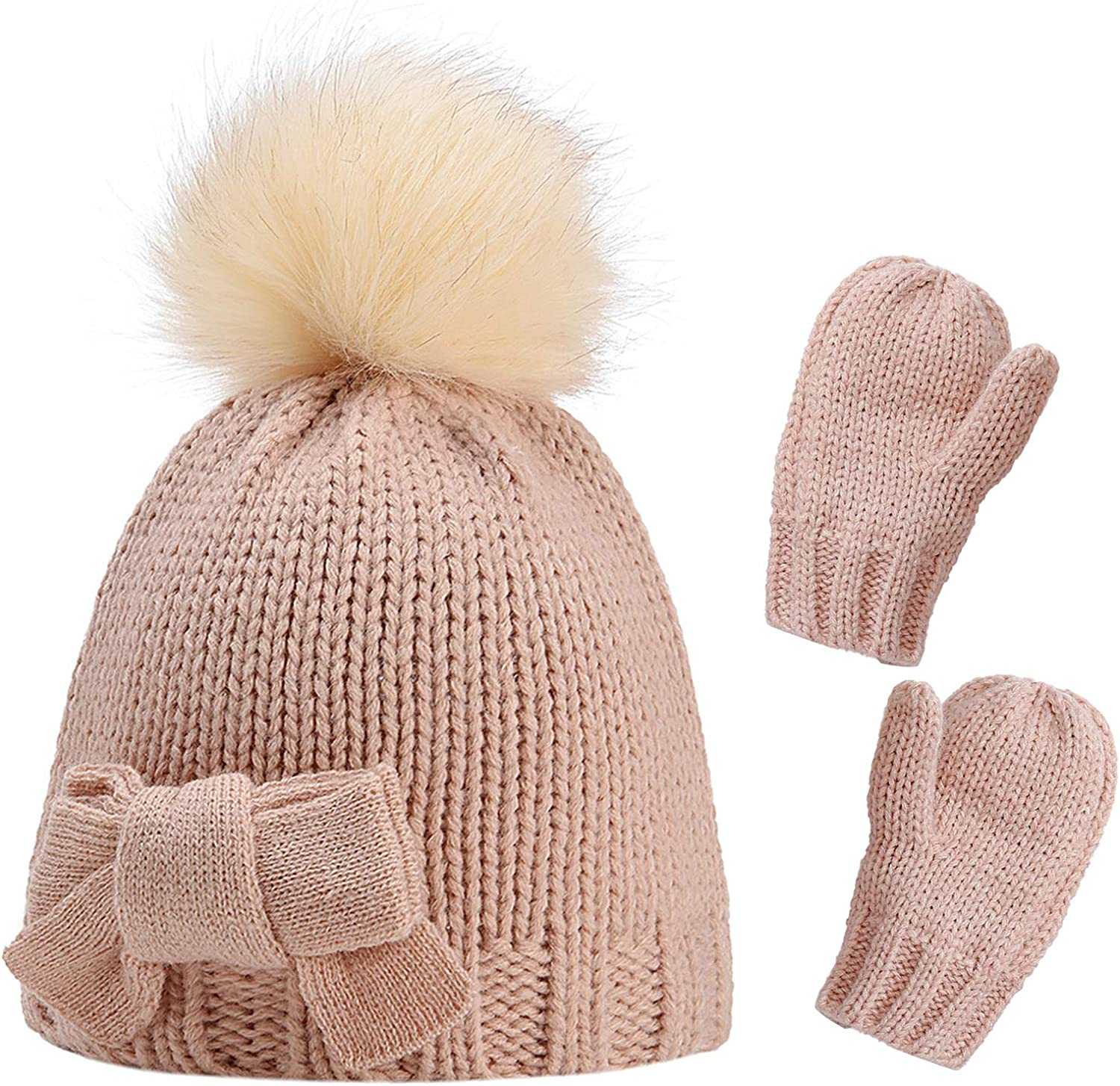 Ueohitsct Baby Toddler Girl Hat Gloves Set Winter Knitted Bowknot Hat+ Mittens