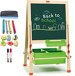 super-ele Kids Easel Wooden Art Easel with Paper roll and Accessories, Double Sided Magnetic Black/White Board Toddler Easel Standing Adjustable