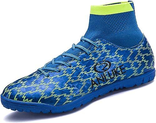QLVY Nouvelles Chaussures de Sport Pas de Crampons Chaussures de Soccer Chaussures de Soccer pour Hommes Chaussures de Formation pour la Jeunesse Professionnel Football extérieur Chaussures Bleu 41