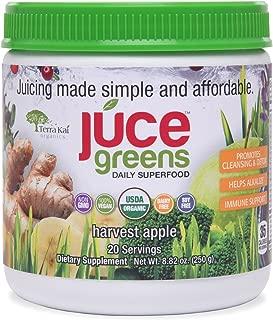 JUCE Greens Superfood: Harvest Apple Flavor   Best Tasting Blend   Detox with Probiotics, Antioxidants, Fiber   USDA Organic Ingredients (Wheatgrass, Spirulina, Chlorella, Chlorella, Reishi)  