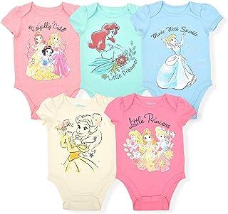 Disney Princess Girl's 5-Piece Short Sleeve Baby Bodysuit Onesie Multi-Colored Set