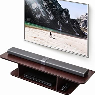 FITUEYES Floating TV Stand Wall Mounted Media Console Entertainment Storage Shelf Brown DS210502WW