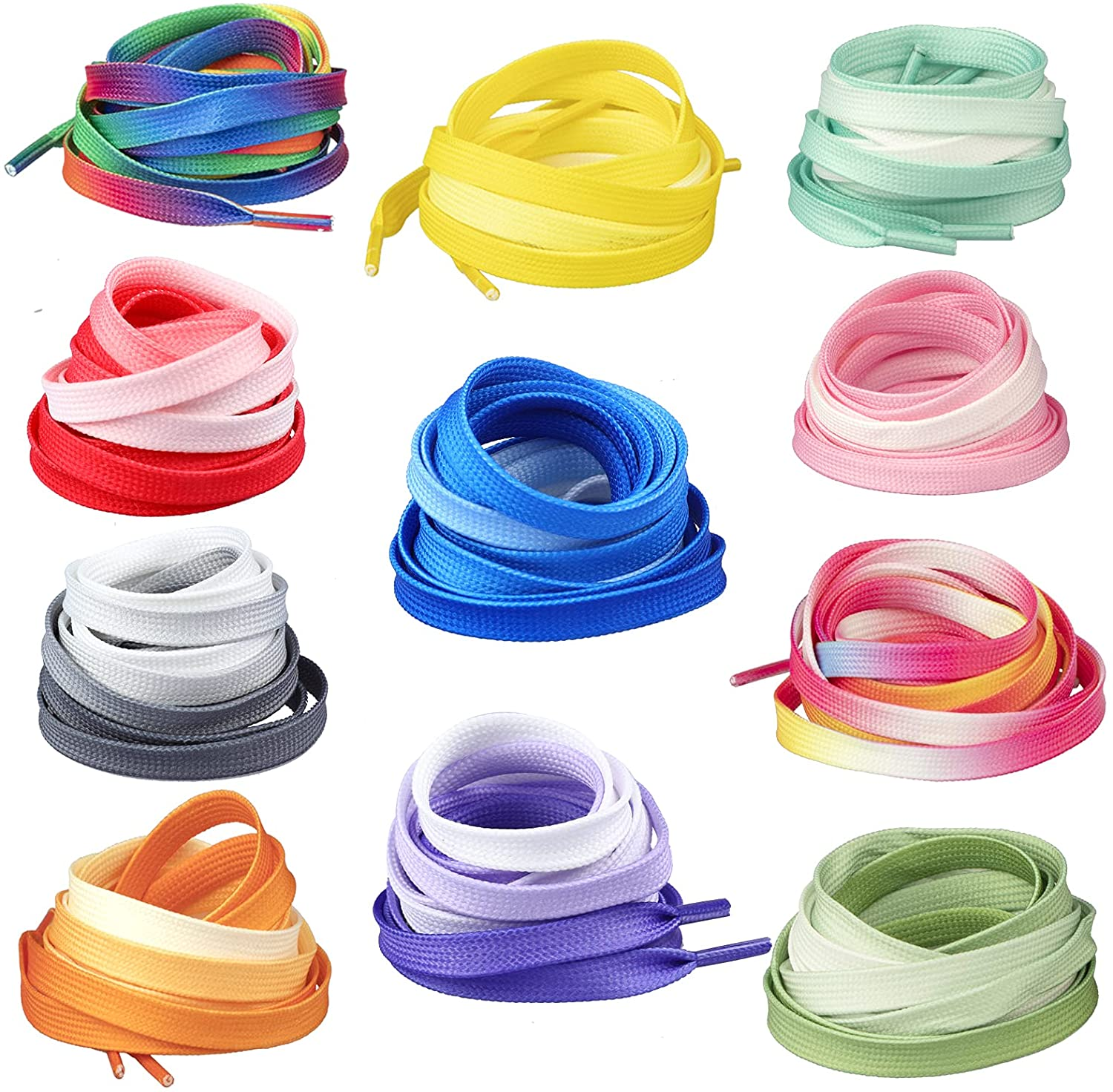 RONRONS 11 Pairs Flat Colorful Shoelaces Gradient Cheap super special New Orleans Mall price Rainbow Shoest