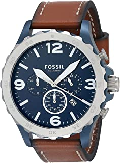 Fossil Men's Nate Stainless Steel Quartz Chronograph Watch, Silver/Blue, Brown, Chronograph