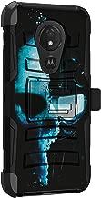 MINITURTLE Compatible with Motorola Moto G7 Power, Motorola Moto G7 Optimo Maxx, Motorola Moto G7 Supra Rugged Holster Clip Hybrid Kickstand Armor Impact Case [Clip Armor] - Cyborg Skull