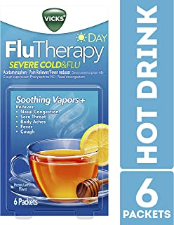 Vicks Flutherapy Severe Cold & Flu, Daytime, Hot Drink, Soothing Vapors, Relieves Nasal Congestion, 6 Count
