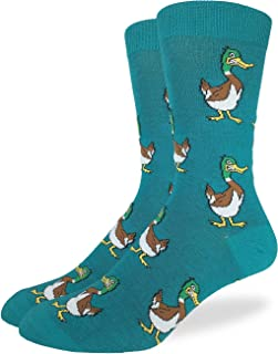 Good Luck Sock Men's Mad Ducks Crew Socks - Green, Adult Shoe Size 7-12