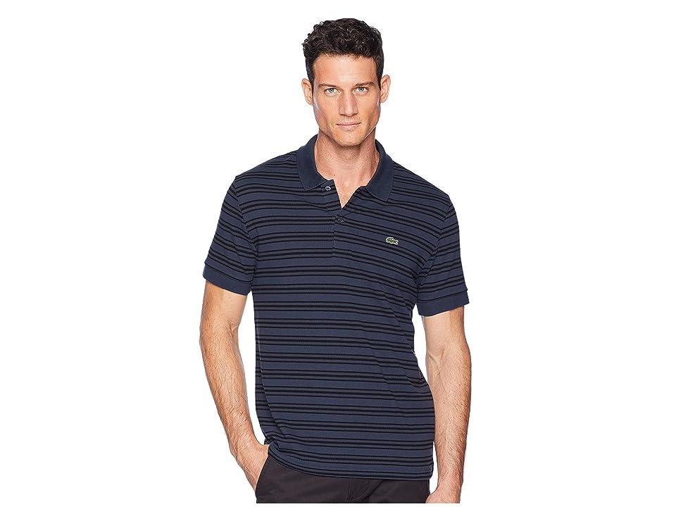 Lacoste Short Sleeve Regular Fit Petit Pique Polo w/ Fine Stripes (Meridian Blue/Black) Men