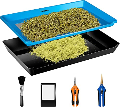 new arrival VIVOSUN Heavy Duty 2-in-1 Trim Bin for Kief, Pollen and Herbs Collecting, Trimming Tray Set with 2021 150 Micron Fine Mesh Screen and online 2 Trimming Scissors online sale