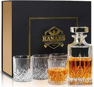 KANARS Whiskey Dekanter und Gläser Set in einzigartiger Geschenkbox – Original Crystal Likör-Dekanter Set für Bourbon, Scotch, Wodka oder Whisky, 5-teilig