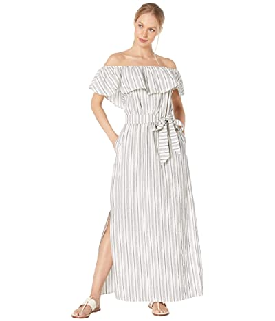 1.STATE Off the Shoulder Striped Cotton Jacquard Maxi Dress (Ultra White) Women