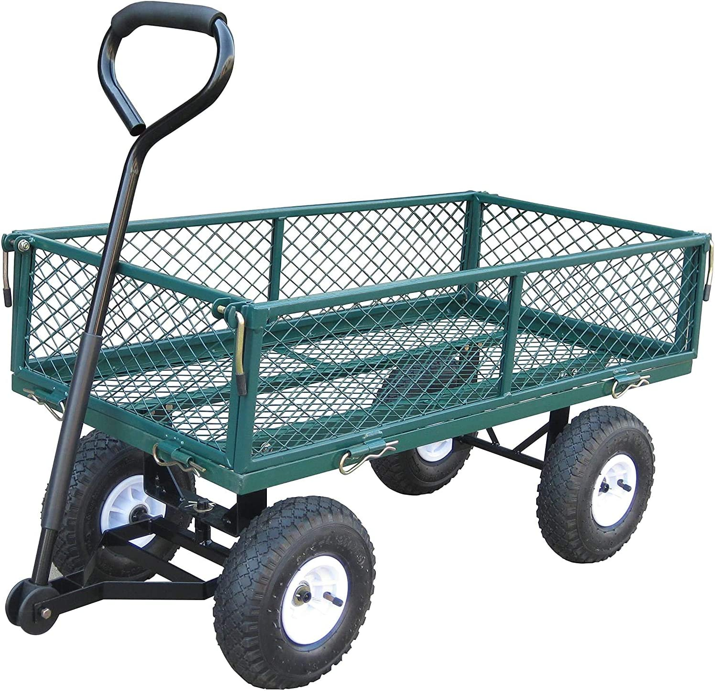 Bond Manufacturing 7576 4-Wheel Garden Cart, Removable Sides Utility Wagon, Green