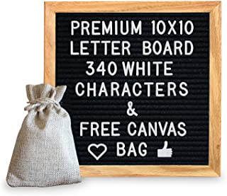10 x 10 Premium Solid Oak Framed Changeable Letter Board, with Free Canvas Bag, 340 Characters (340 White)
