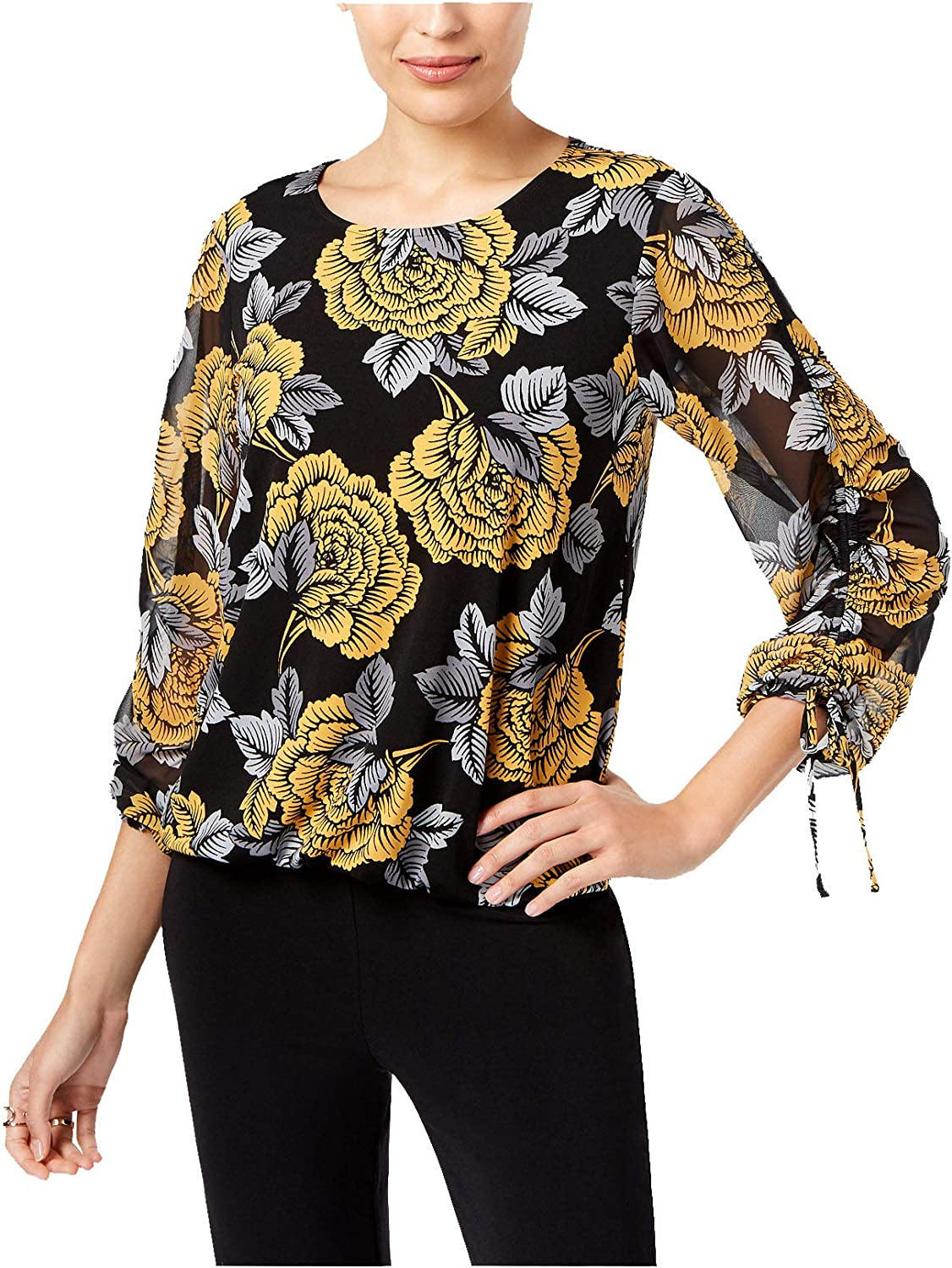 Alfani Women's FloralPrint TieCuff Top