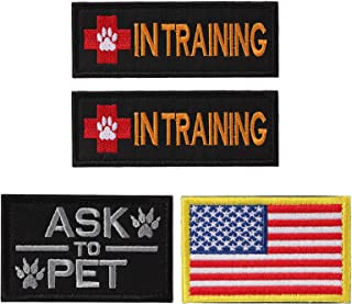Petvins Service Dog Patch for Vest Harness Backpack K9 Morale Badge Hook and Loop in Training - Outdoor Tactical Dog Molle Vest Camouflage Harness