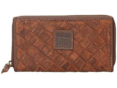STS Ranchwear Basket Weave Bifold Wallet (Brown) Wallet Handbags