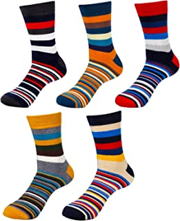 Calcetines Termicos Hombre Algodon Calcetines Hombre Colores Calcetines Hombre Invierno (5 pares calcetines rayas)