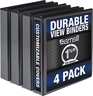 Samsill Durable 1.5 Inch Binder / Black Round Ring Binder / Customizable Clear View Binder / Bulk Binder 4 Pack / Black 3 ...