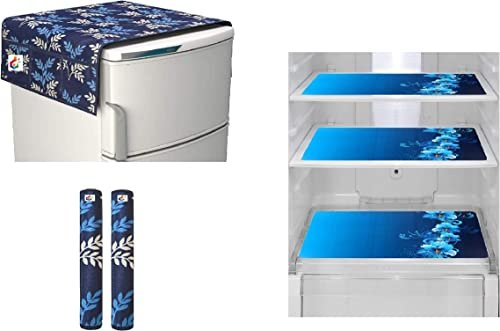 Goel Home Decor Exclusive Decorative Kitchen Combo Fridge Top Cover 21 X 39 Inches Fridge Handle Covers 3 Fridge Mats 11 5 X 17 5 Inches Blue Leaf 6pc