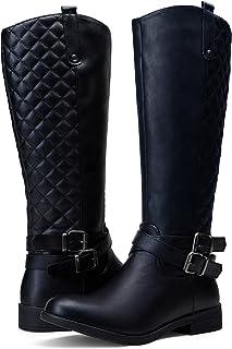 VEPOSE Women's Low Heel Knee High Boots Metal Buckle Zipper Comfortable for Women