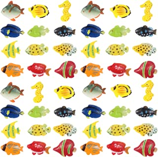 Boao 48 Pieces TropicalFishFigurePlaySet, TropicalFishPartyFavors,AssortedPlasticFishToys, SeaAnimalsToysforKids, 1.5 Inch Long