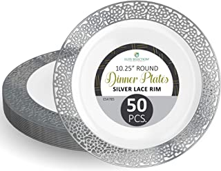 """Disposable Plastic Party Plates - 50 Pack 10.25"""" Dessert Plate - Elegant Round White Plate with Silver Lace Design - Ecofriendly Kitchen Dinnerware - by Elite Selection"""