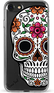 CaseYard iPhone 8 Clear Case, Luxuriously Designed Clear Cell Phone Cases, Made in California, (Clear) Sugar Skull