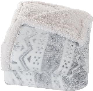 Bedford Home Fleece Sherpa Blanket Throw Blanket, Snow Flakes