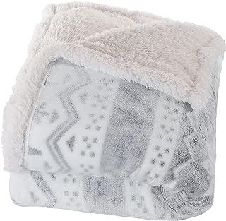 Lavish Home Fleece Sherpa Blanket Throw Blanket, Snow Flakes