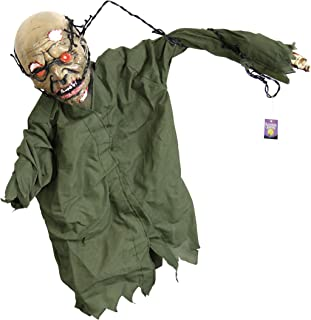 Halloween Haunters Animated Hanging Scary Mangled Barbwire Reaper Zombie Torso Prop Decoration - Moving Arms, Spooky Screams, LED Eyes - Battery Operated - Haunted House, Graveyard, Entryway Display