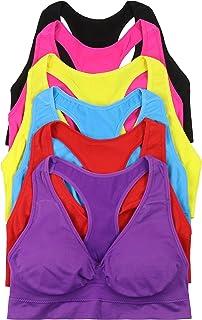 ToBeInStyle Women's 6 Pack Racerback Sports Bras