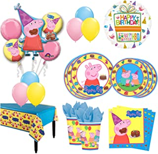 The Ultimate 8 Guest 53pc Peppa Pig Birthday Party Supplies and Balloon Decoration Kit