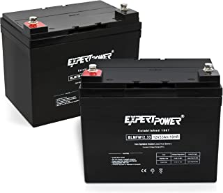 ExpertPower Q02BLMFM12_33 AGM (2 Pack) 12v Rechargeable Deep Cycle Battery 33Ah, 34Ah, 35Ah. Replacment model for Pride Mobility Scooters