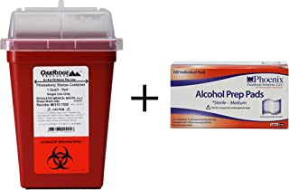 Oakridge 1 Quart Sharps Container and 100 Alcohol Wipes