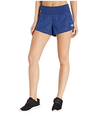 New Balance Impact 3 Printed Shorts (Techtonic Blue) Women
