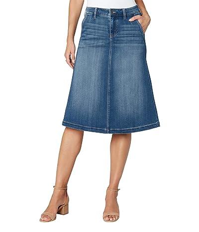 Liverpool Denim Circle Skirt in Lanier Mid Blue