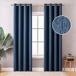 MIULEE Thermal Insulated Linen Curtain 2 Panels for Living Room Darkening Farmhouse Grommet Textured Window Blackout Drape...