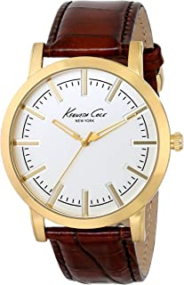 kenneth cole new york brown leather strap watch
