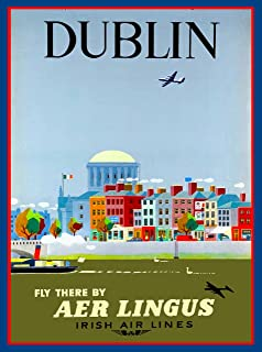 A SLICE IN TIME Dublin Ireland Irish Arlines Great Britain Vintage Travel Advertisement Art Collectible Wall Decor Poster Picture Print.10 x 13.5 inches