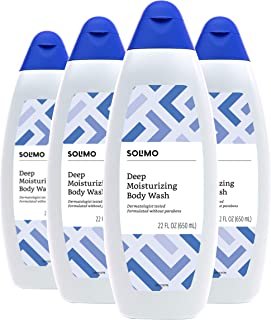 Solimo Body Wash, Deep Moisturizing for Dry Skin, 22 Fluid Ounce (Pack of 4)
