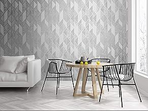 Graham & Brown Milan Geo Silver and Grey Wallpaper