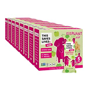 This Saves Lives Kids Chewy Granola Bars, Elephant Apple Crisp 40 Pack, Gluten Free Snack Bars, Healthy Snacks for Kids, Individually Wrapped, Nut Free, Non GMO, Kosher, 0.88oz Bars
