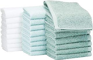Amazon Basics - Asciugamani in cotone, confezione da 24, Verde Acqua, Blu Ghiaccio, Bianco