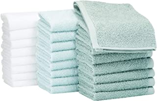 AmazonBasics Washcloth Face Towels, Multi-color: Seafoam Green, Ice Blue, White, Pack of 24