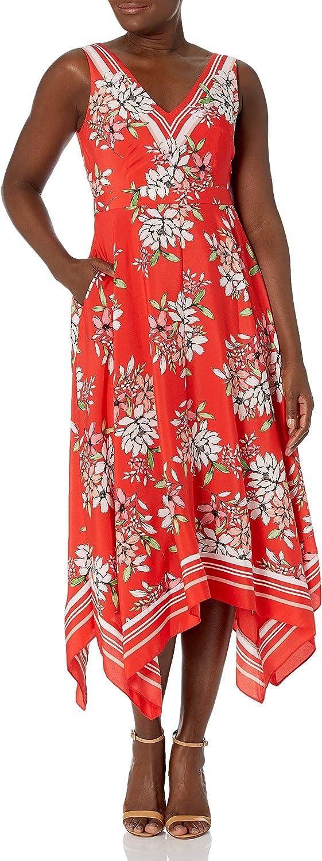 Vince Camuto Women's Printed CDC V Neck Handkerchief Hem Midi Dress