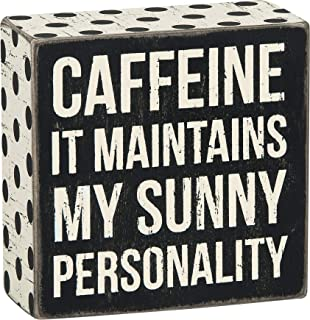 Primitives by Kathy 23533 Polka Dot Trimmed Box Sign, 4 x 4-Inches, Caffeine - Sunny Personality