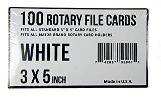 3x5 Rotary File Refill Cards 100 Fits All Major Brand Holders (White)