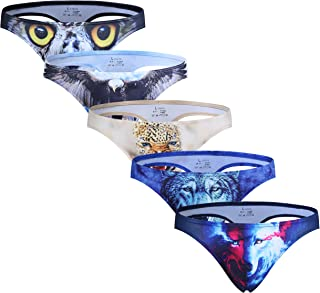 ARCITON Men's Low Rise Bulge Thong Sexy Animal Print T-Back Mens Underwear